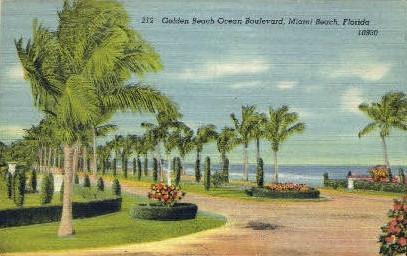Ocean Boulevard - Miami Beach, Florida FL Postcard