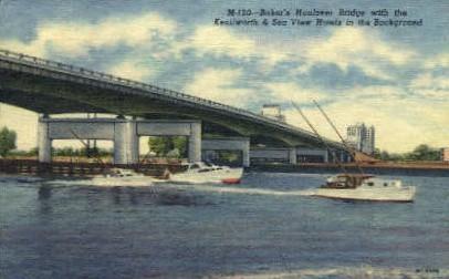 Baker's Haulover Bridge - Miami Beach, Florida FL Postcard