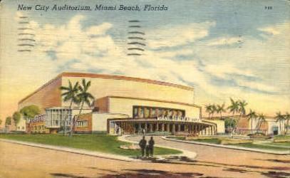 New City Auditorium - Miami Beach, Florida FL Postcard