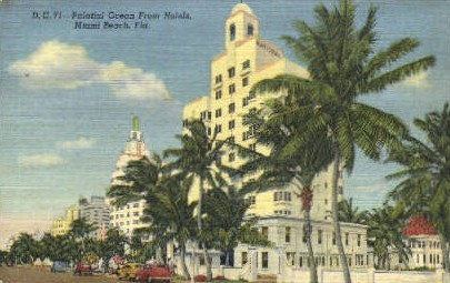 Palatial Ocean Front Hotels - Miami Beach, Florida FL Postcard