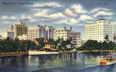 Miami River - Miami Beach, Florida FL Postcard