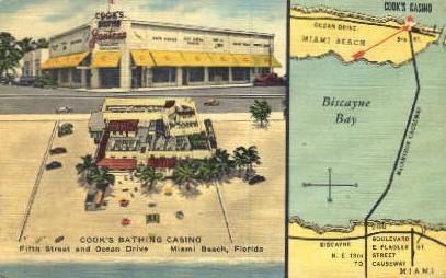 Cook's Bathing Casino - Miami Beach, Florida FL Postcard