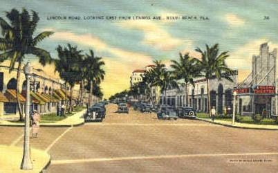Lincoln Road - Miami Beach, Florida FL Postcard