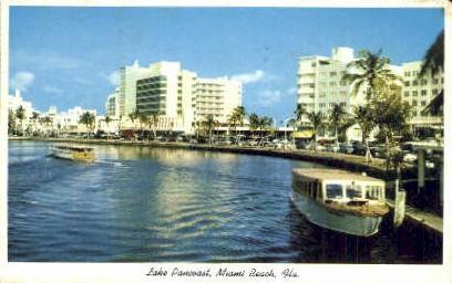 Lake Pancoast - Miami Beach, Florida FL Postcard