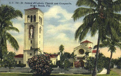 St. Patrick's Roman Catholic Church - Miami Beach, Florida FL Postcard