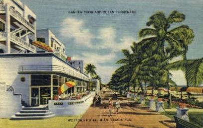 Ocean Promenade - Miami Beach, Florida FL Postcard