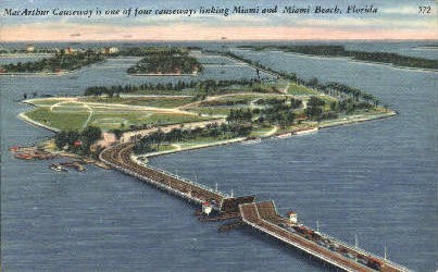 MacArthur Causeway - Miami Beach, Florida FL Postcard