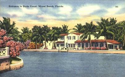 Dade Canal - Miami Beach, Florida FL Postcard