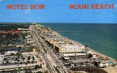 Motel Row - Miami Beach, Florida FL Postcard