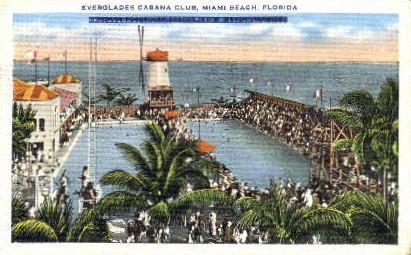 Everglades Cabana Club - Miami Beach, Florida FL Postcard