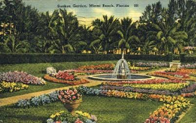 Sunken Gardens - Miami Beach, Florida FL Postcard