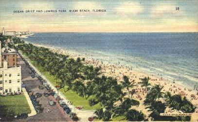 Ocean Drive - Miami Beach, Florida FL Postcard