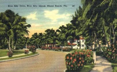Rivo Alto Drive - Miami Beach, Florida FL Postcard