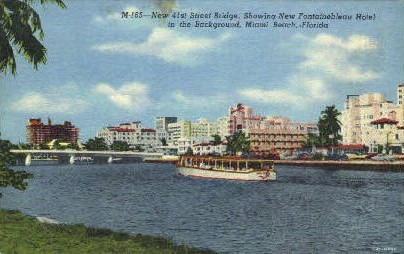 41st Street Bridge - Miami Beach, Florida FL Postcard