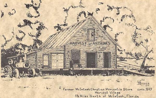 Former McIntosh Christian Mercantile Store Florida Postcard