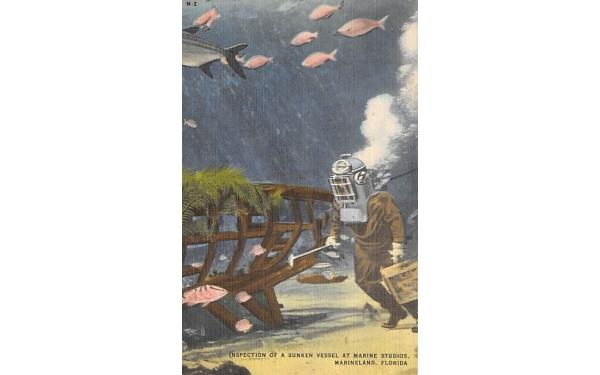 Inspection of a Sunken Vessel at Marine Studios Marineland, Florida Postcard