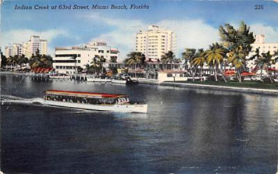 Indian Creek at 63rd Street Miami Beach, Florida Postcard