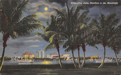 The Palm Beaches in the Moonlight Misc, Florida Postcard