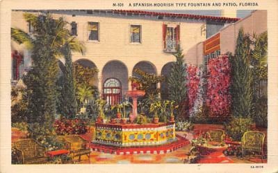 A Spanish-Moorish Type Fountain and Patio Misc, Florida Postcard