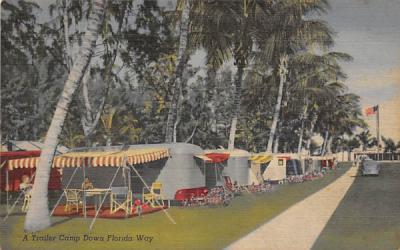 A Trailer Camp Down Florida Way Postcard