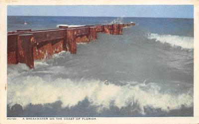 A Breakwater on the Coast of Florida, USA Postcard