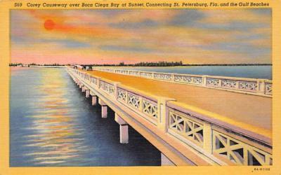 Corey Causeway over Boca Ciega Bay at Sunset Misc, Florida Postcard