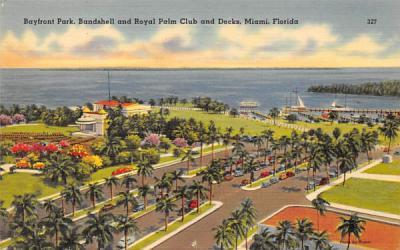 Bandshell and Royal Palm Club and Docks  Miami, Florida Postcard