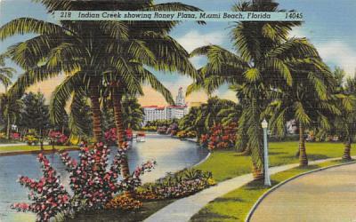 Indian Creek showing Roney Plaza Miami Beach, Florida Postcard