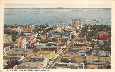 12th Street and Bay Biscayne Miami, Florida Postcard
