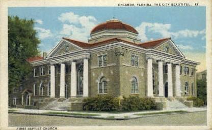 First Baptist Church - Orlando, Florida FL Postcard