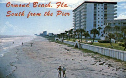 Pier - Ormond Beach, Florida FL Postcard