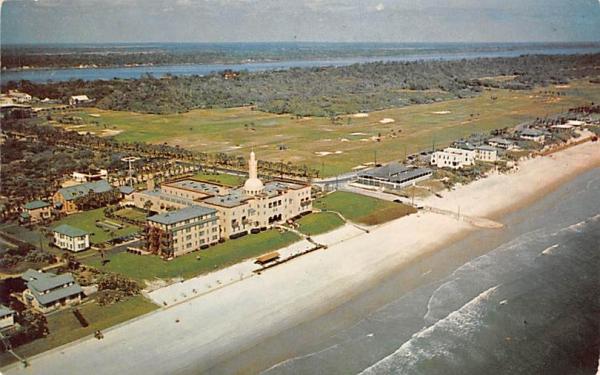 Beach, Golf Course, Coquina Hotel and Halifax River Ormond Beach, Florida Postcard