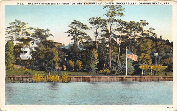 Halifax River Winter Home John D. Rockefeller  Ormond Beach, Florida Postcard