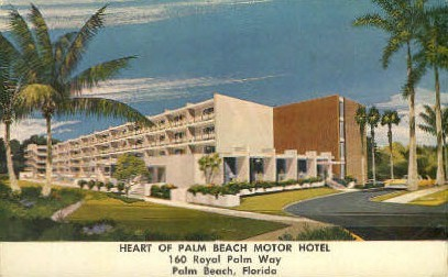 Heart Of Palm Beach Motor Hotel - Florida FL Postcard