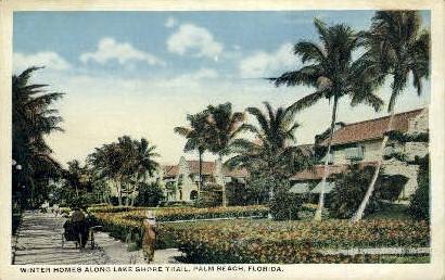 Lake Shore Trail - Palm Beach, Florida FL Postcard