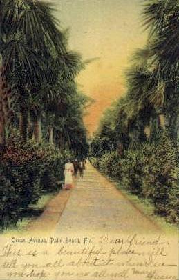 Ocean Avenue - Palm Beach, Florida FL Postcard