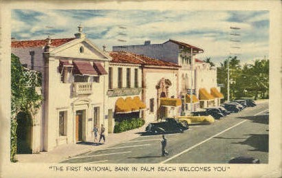 First National Bank - Palm Beach, Florida FL Postcard