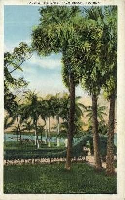Along the Lake - Palm Beach, Florida FL Postcard
