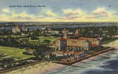 Aerial View - Palm Beach, Florida FL Postcard