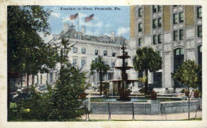 Fountain in Plaza - Pensacola, Florida FL Postcard