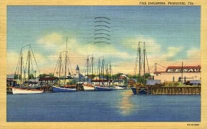 Fish Industries - Pensacola, Florida FL Postcard