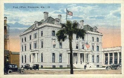 Post Office - Pensacola, Florida FL Postcard
