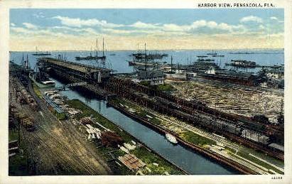 Harbor - Pensacola, Florida FL Postcard