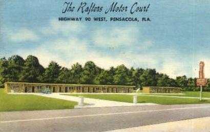 Raftens Motor Court - Pensacola, Florida FL Postcard