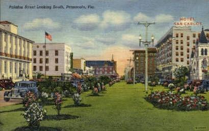 Palafox Street - Pensacola, Florida FL Postcard