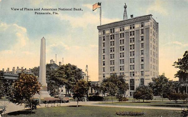 View of Plaza and American National Bank Pensacola, Florida Postcard