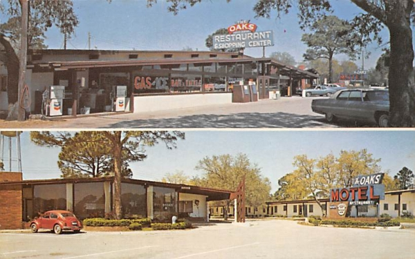 The Oaks Restaurant - Motel - Shopping Center Panacea, Florida Postcard