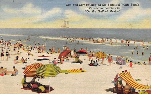 Beautiful White Sands at Pensacola Beach, FL, USA Florida Postcard