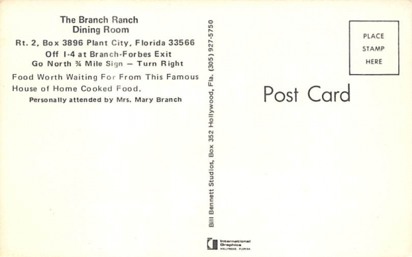 The Branch Ranch Dining Room In Plant City Florida Vintage Collectible Postcard