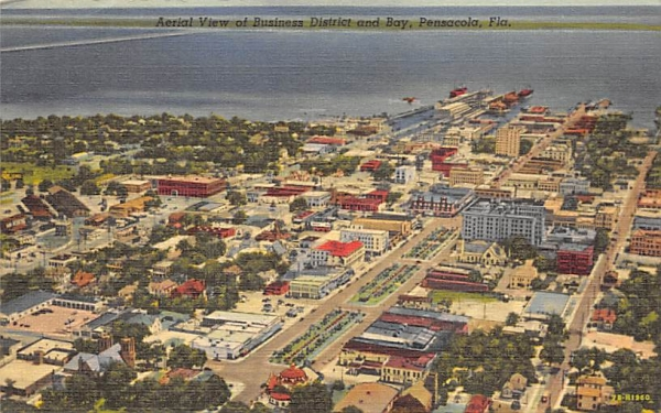 Aerial View of Business District and Bay Pensacola, Florida Postcard